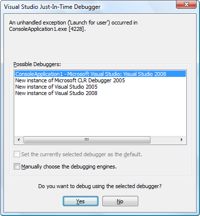 To enable/disable Just-In-Time debugging