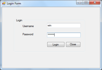 Form Login บน Windows Form Application
