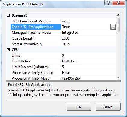 Enable 32-bit Applications IIS7