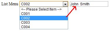 List Select Menu Auto Fill Textbox