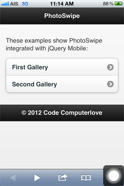 jQuery Mobile Images Gallery