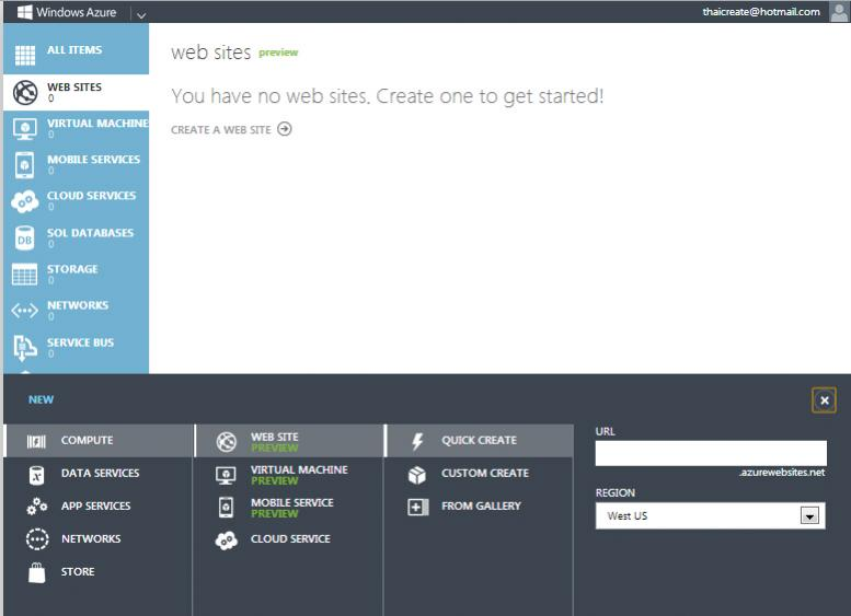 Windows Azure Management Portal