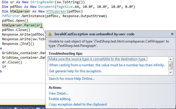 รบกวนช่วยดู Error ให้หน่อยค่ะ พอดีจะทำ gridview to pdf ค่ะ