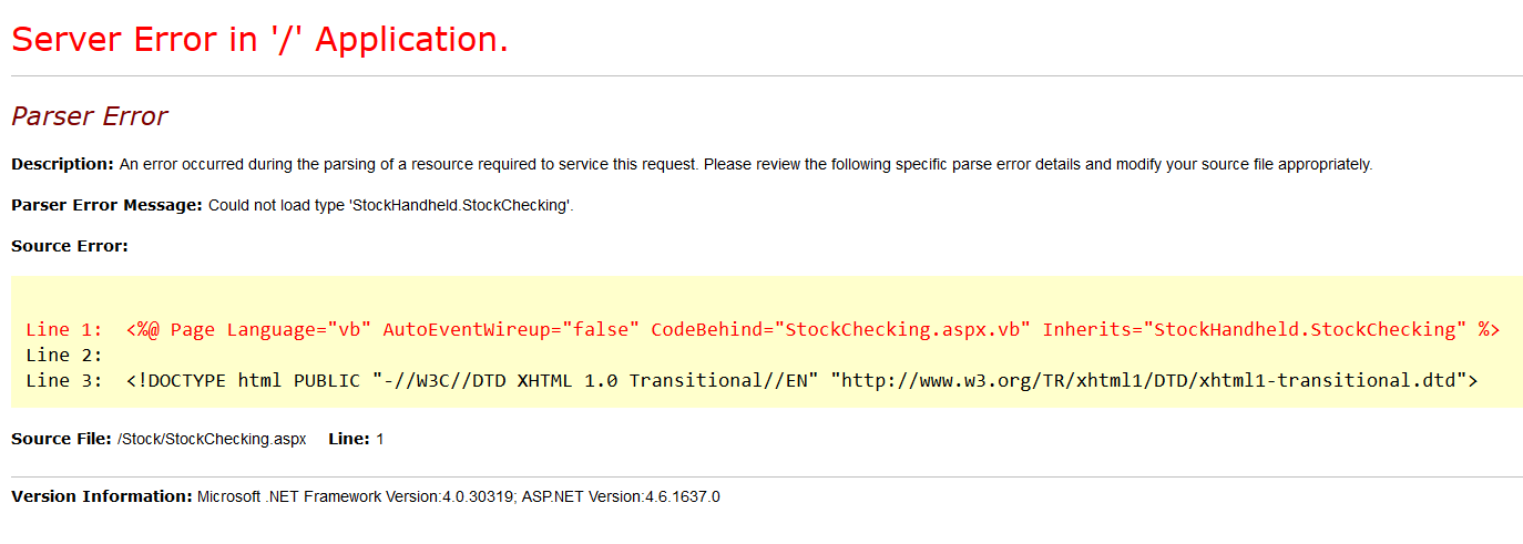 Error ASP.NET 4