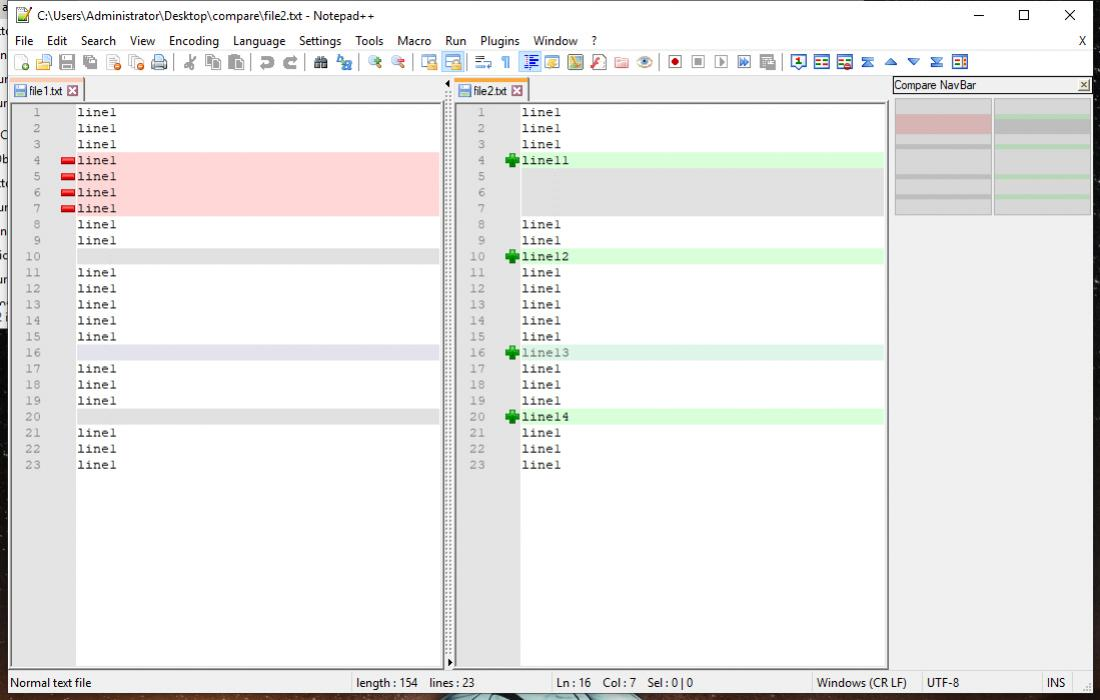 Notepad ++ Compare