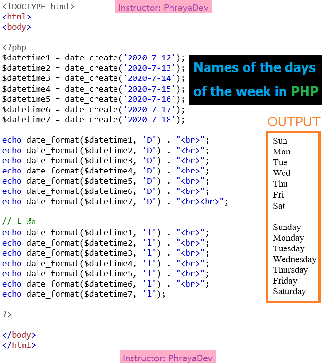 name of the days in PHP