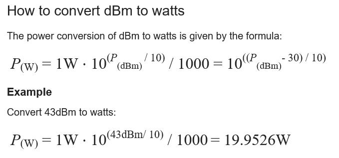 dBm2watt