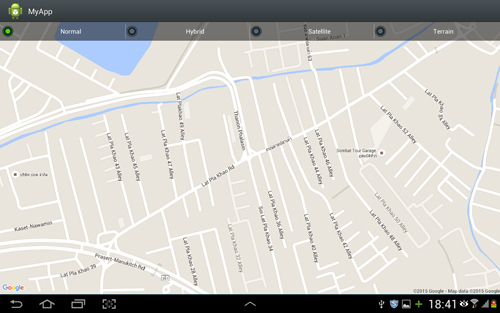 Android Google Map : Change Map Type (NORMAL,HYBRID,SATELLITE,TERRAIN)