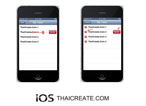 iOS/iPhone Table View Show Enable Edit / Delete Cell (Swipe To Delete) (UITableView)