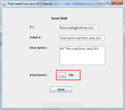 Java GUI Create Frame Form for Send Mail