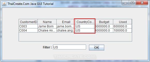 Java GUI JTable - Filter Data in JTable