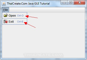 Java GUI Create Menu and Shortcut Key Control