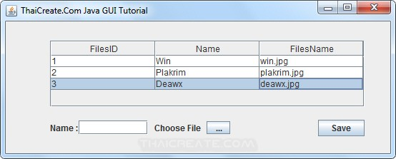 Java GUI Upload file to Database via JFileChooser