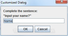 Java GUI Dialog MessageBox