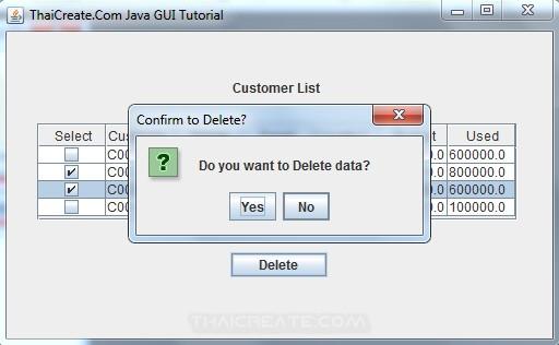 Java GUI Delete Multiple Records using Checkbox