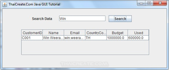 Java GUI Search Data from Database