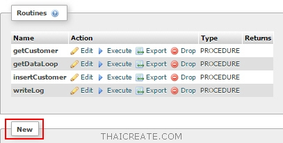execute stored procedure mysql phpmyadmin