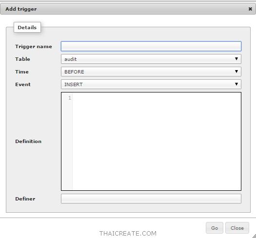 phpMyAdmin : Stored Procedure, View, Function, Trigger บน MySQL