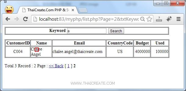 PHP SQL Server Search Data Paging/Pagination (PDO)