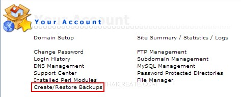 Direct Admin : Create/Restore Backups