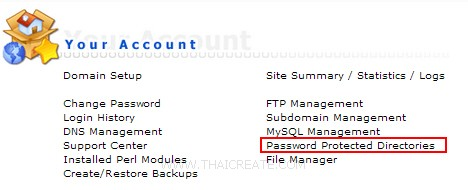 Direct Admin : Password Protected Directories