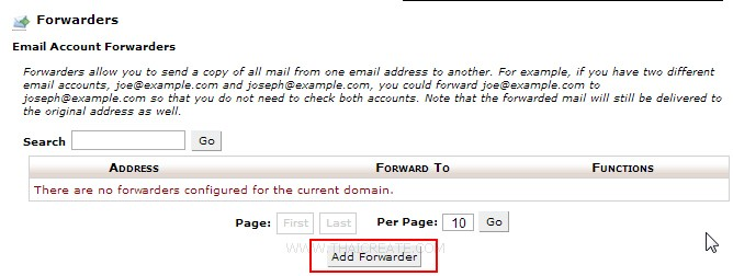Cpanel : Forwarders