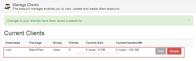 Zpanel Package User Account