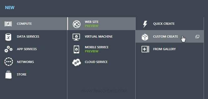 Windows Azure Create Web Sites Service