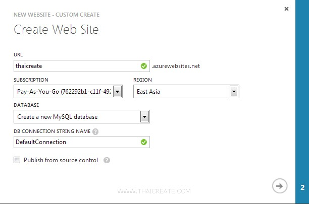 Windows Azure Create Web Sites Service