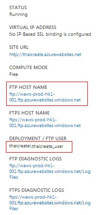 Windows Azure Web Sites FTP Upload