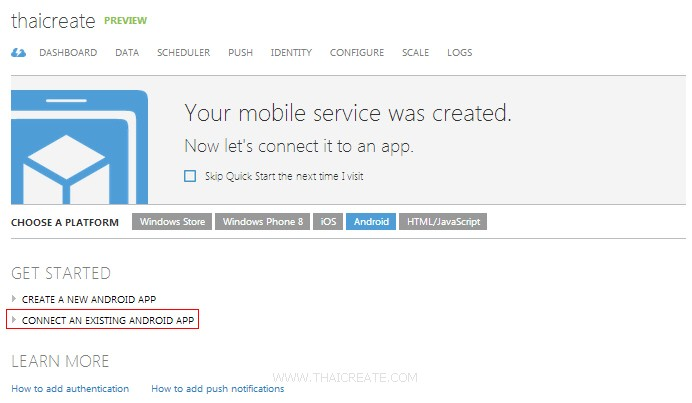 Android Connect to Mobile Services Windows Azure