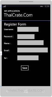 Windows Phone  Register Form