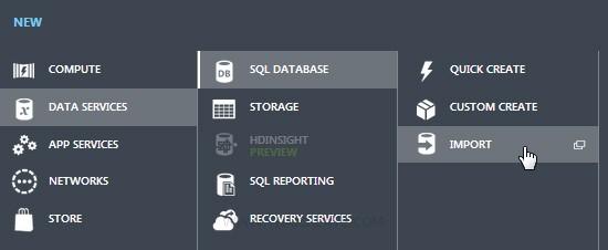 Backup Import Restore SQL Azure / SQL Database