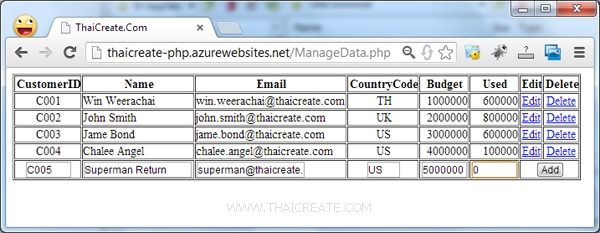 PHP กับ MySQL บน Azure Web Site Add Insert Update Delete