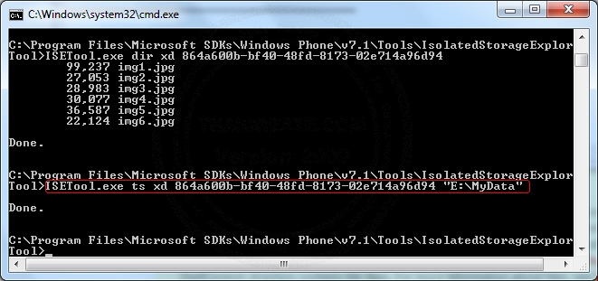 Windows Phone Copy Transfer file from PC Between Isolated Storage